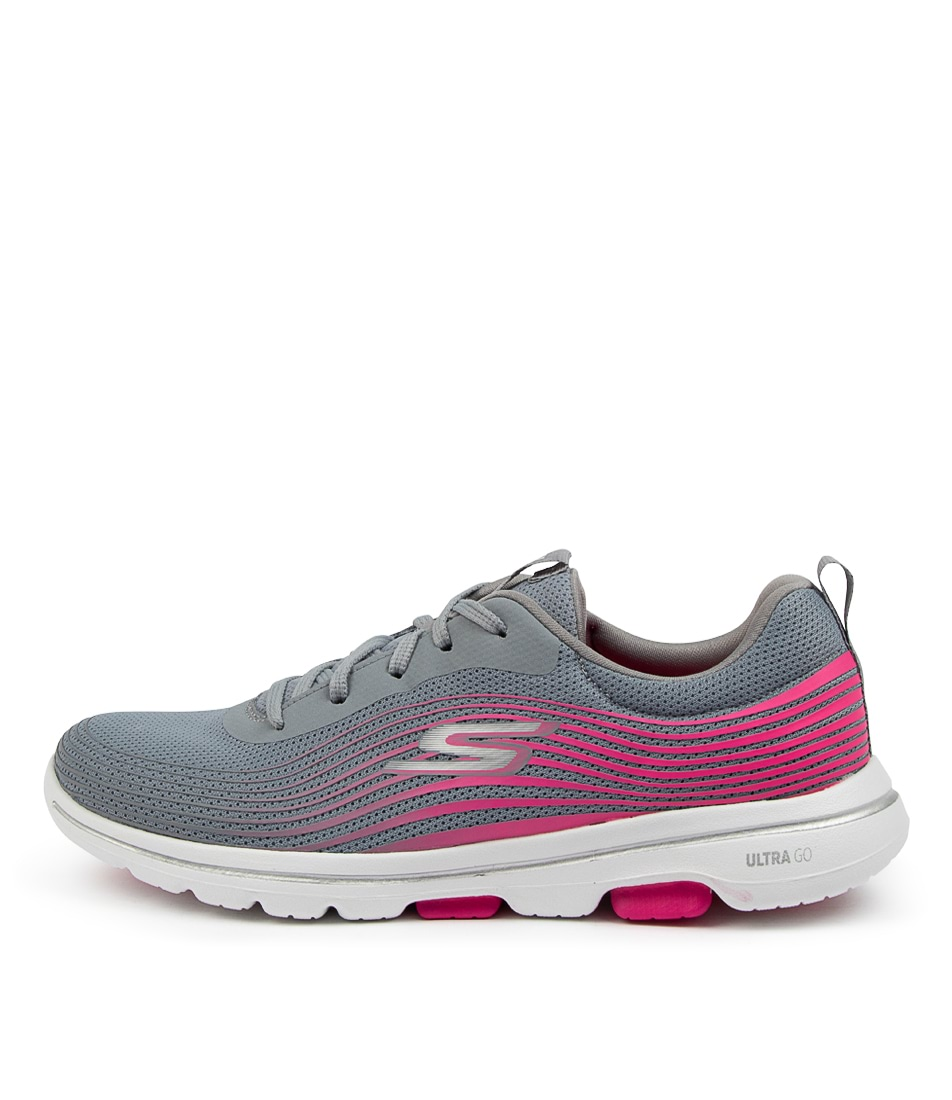 Buy Skechers 124009 Go Walk 5 Exotic Sk Grey Pink Sneakers online with free shipping