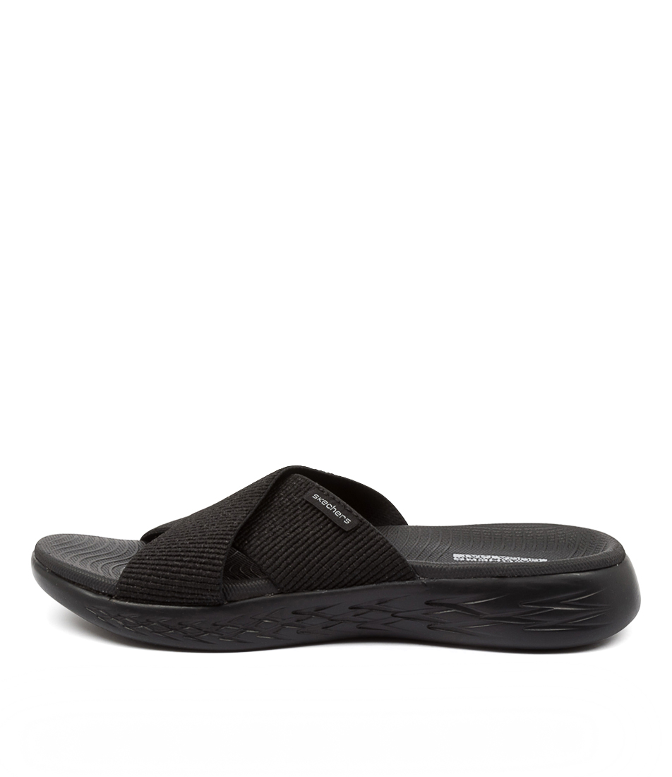 Buy Skechers 16259 On The Go 600 Glist Sk Black Flat Sandals online with free shipping