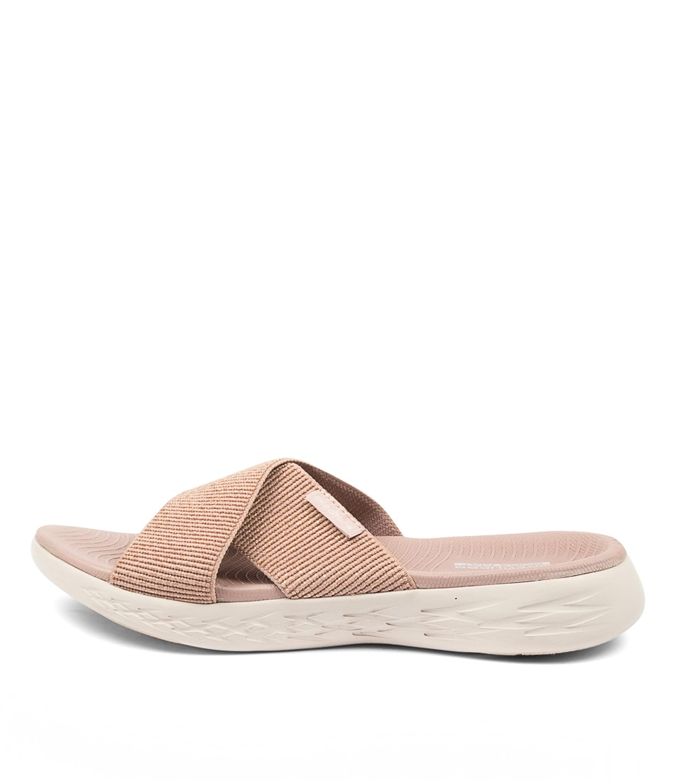 Buy Skechers 16259 On The Go 600 Glist Sk Rose Gold Flat Sandals online with free shipping