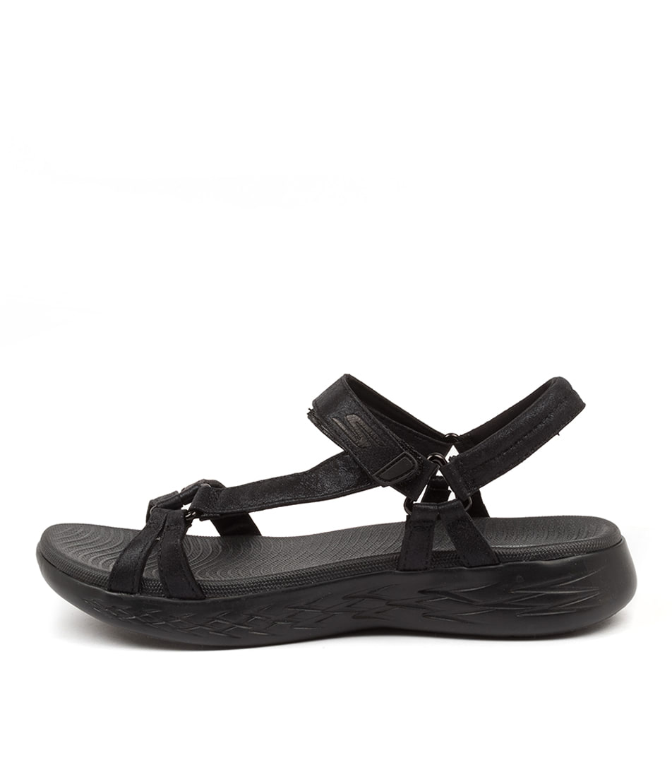 Buy Skechers 16321 On The Go 600 Sheen Sk Black Flat Sandals online with free shipping