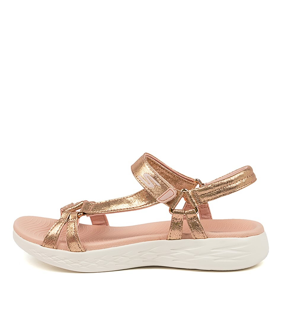 Buy Skechers 16321 On The Go 600 Sheen Sk Rose Gold Flat Sandals online with free shipping