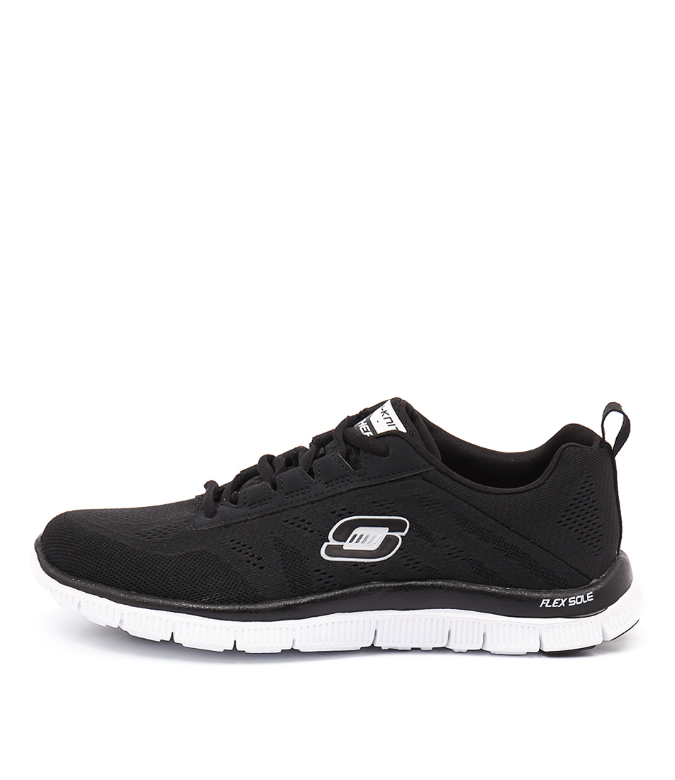 Skechers 11729 Flex Appeal Sweetspot Black White Sneakers