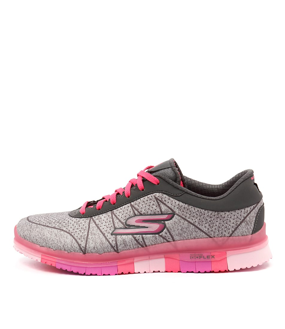 Skechers 14011 Go Flex Ability Lace Up Grey Hot Pink Sneakers