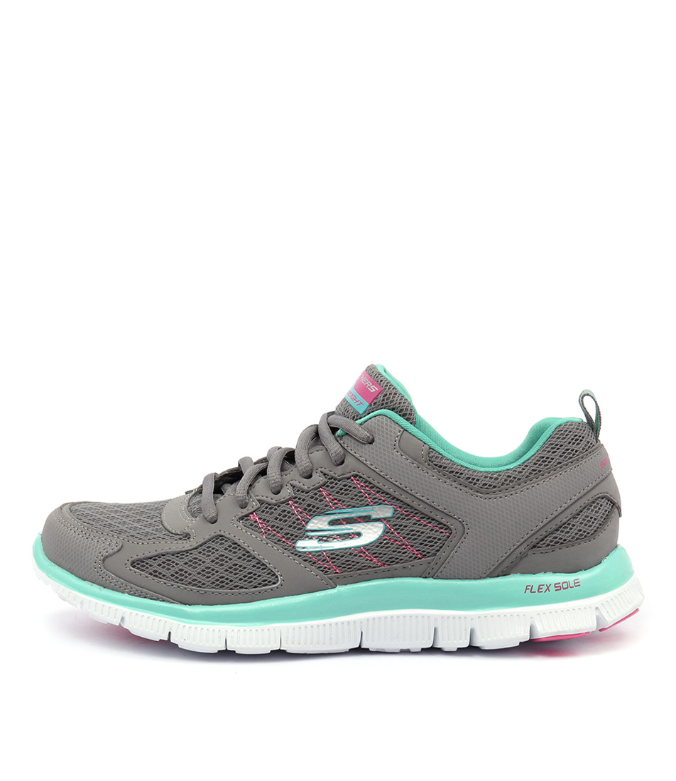 Skechers 12452 Flex Appeal Qrtr Stitch Grey Mint Sneakers