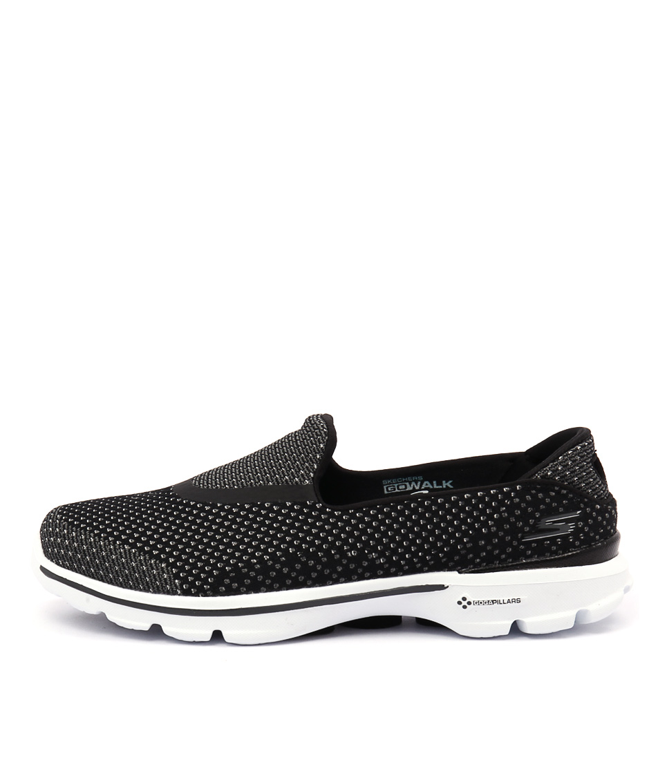 Skechers 14060 Go Walk 3 Go Knit Black White Sneakers