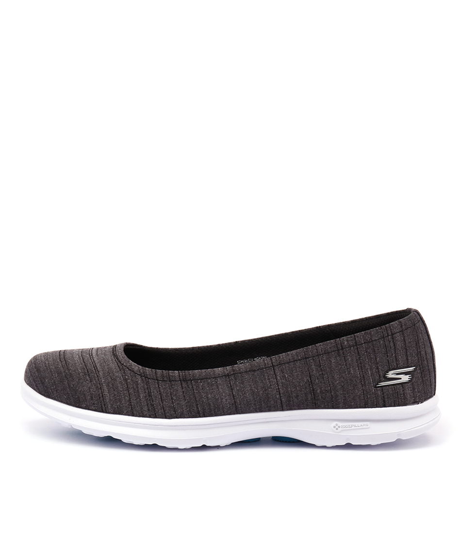 Skechers 14222 Go Step Heathered Black White Sneakers