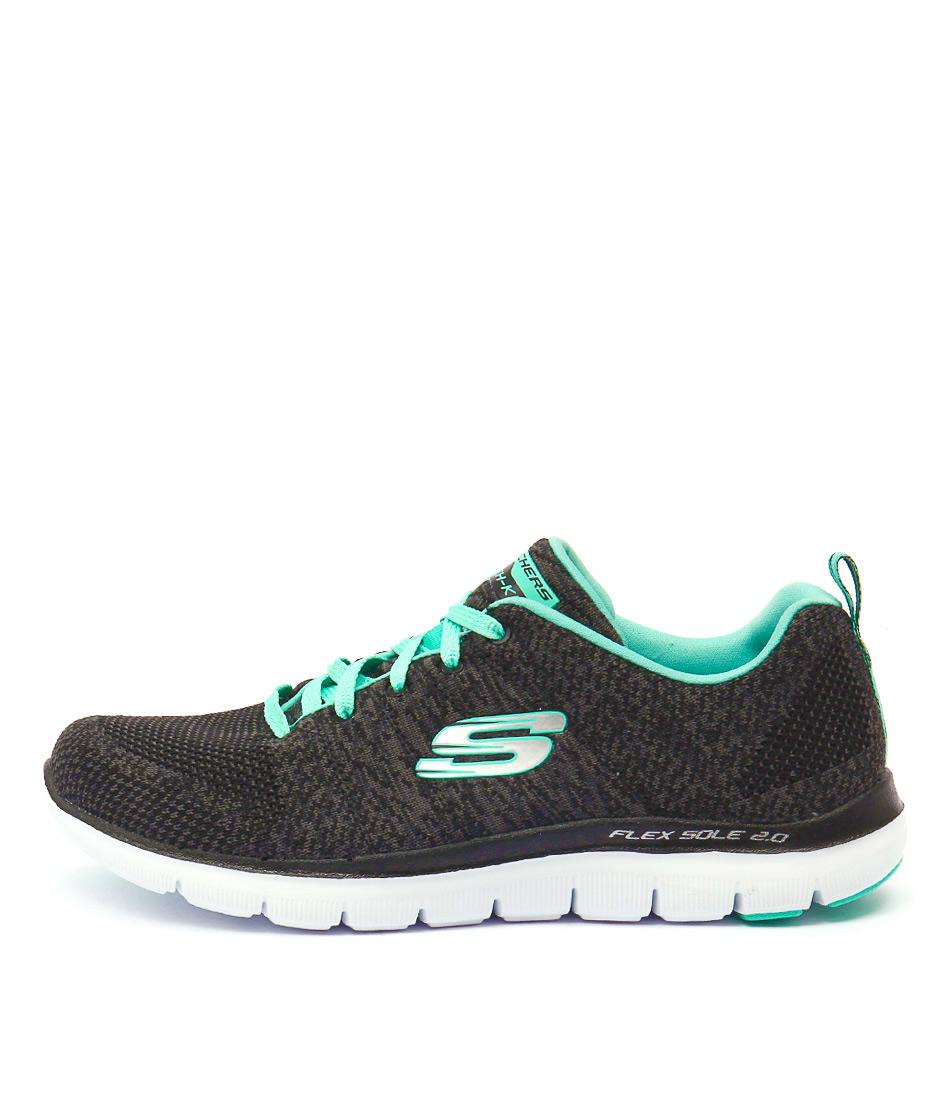 Skechers 12756 Flexappeal 2.0 Black Aqua Sneakers