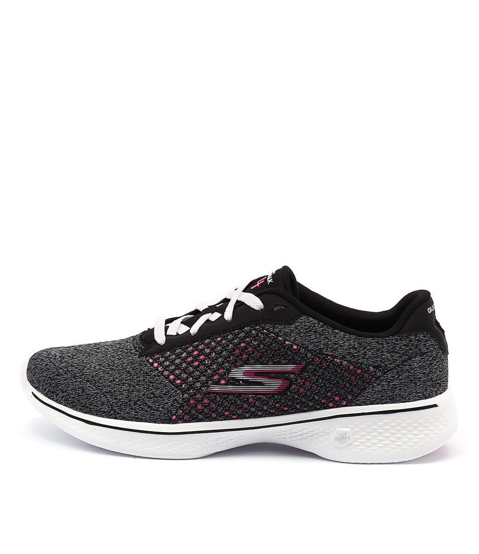 Skechers 14146 Go Walk 4 Exceed Black Hot Pink Sneakers