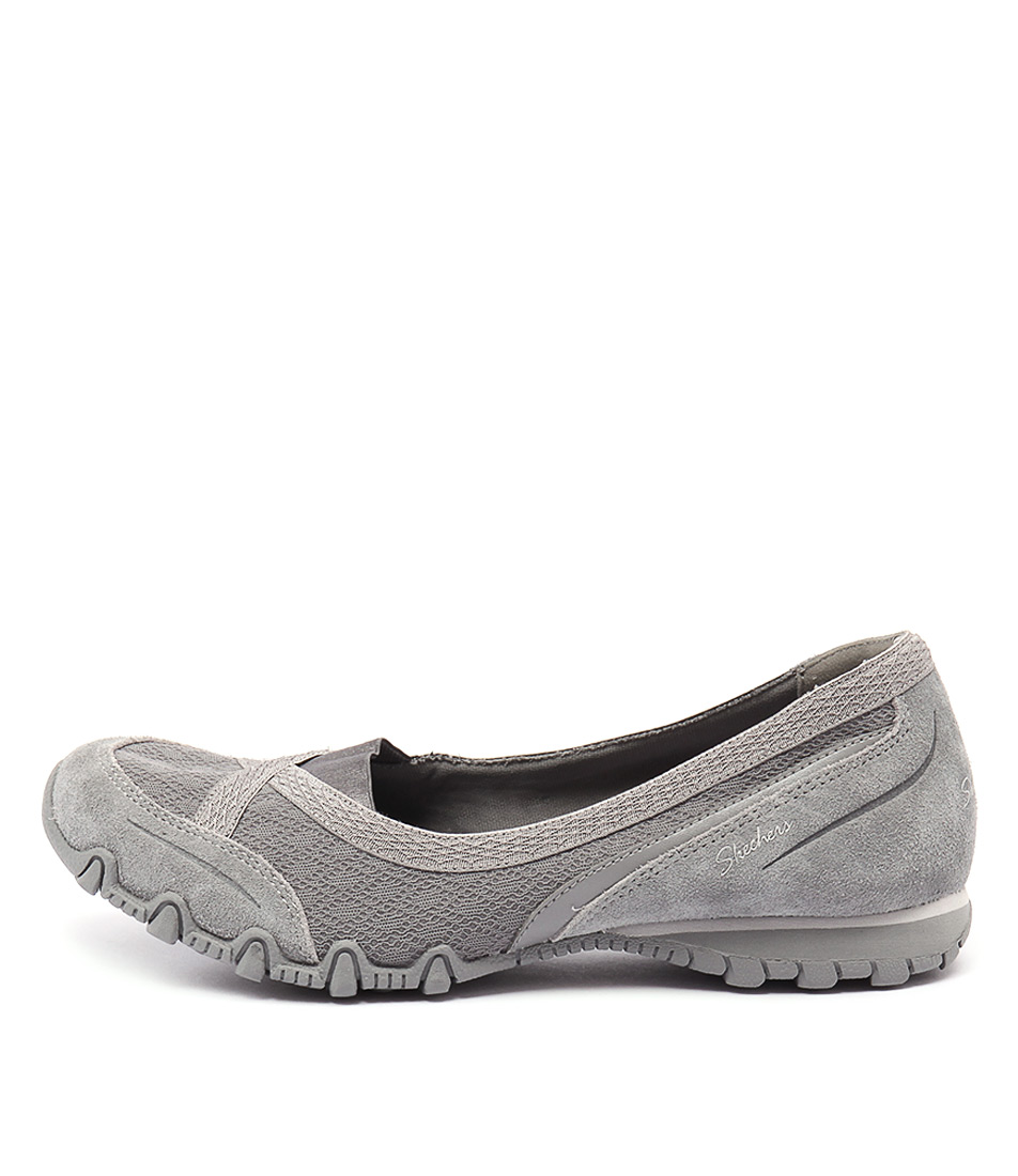 Skechers 49353 Bikers Skim Grey Casual Flat Shoes