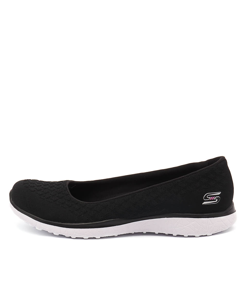 Skechers 23312 Microburst One Up Black White Casual Flat Shoes