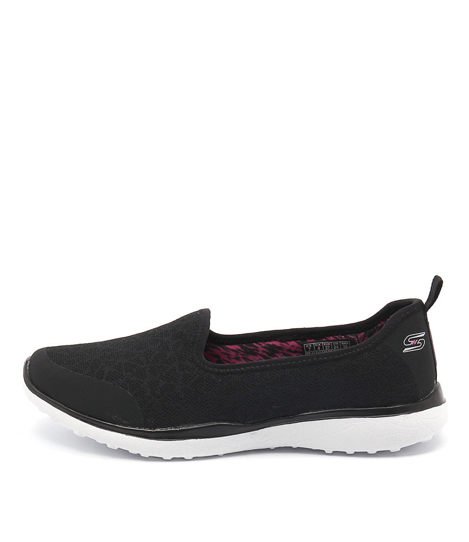Skechers 23310 Mircoburst Its My Life Black White Casual Flat Shoes