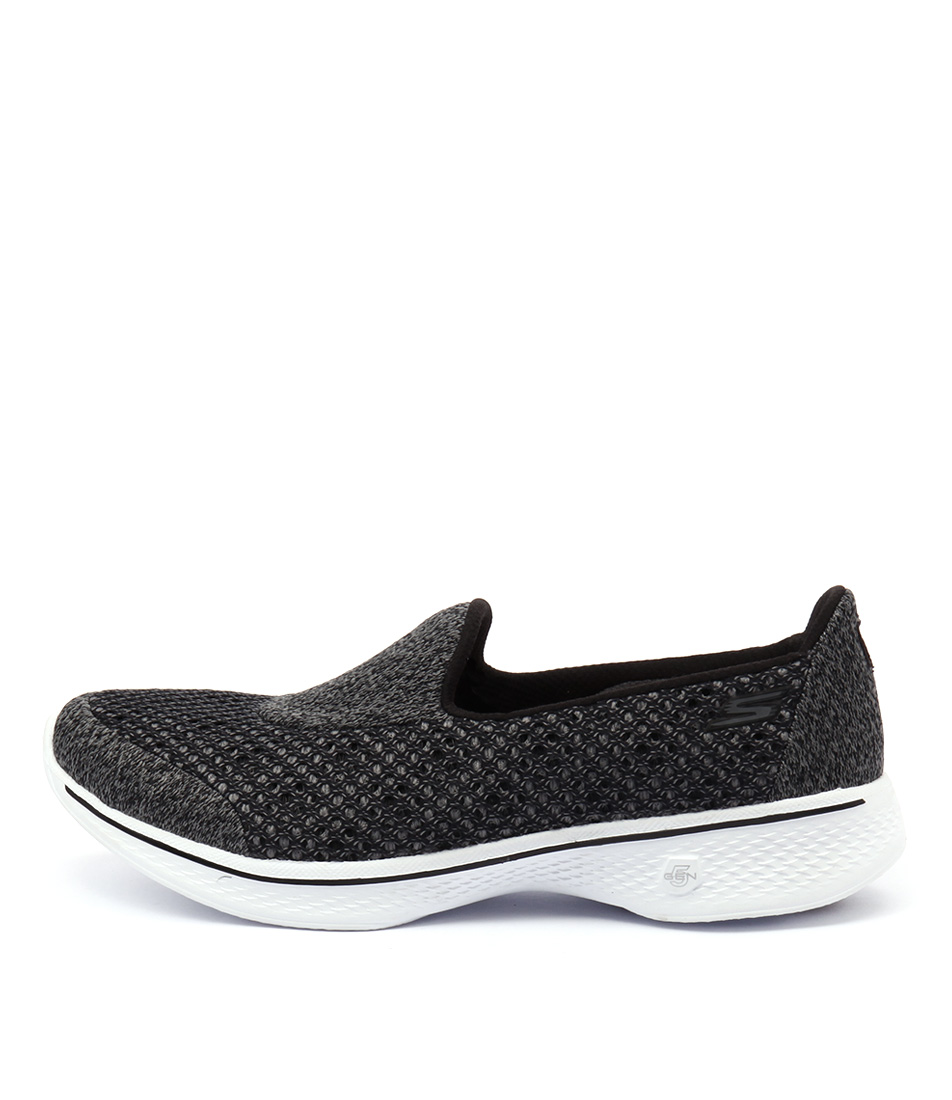 Skechers 14145 Go Walk 4 Kindle Slip On Black White Sneakers