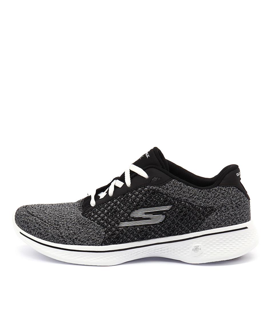 Skechers 14146 Go Walk 4 Exceed Black White Sneakers