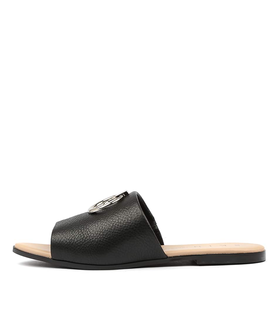 Buy Skin Zenia Black Flat Sandals online with free shipping