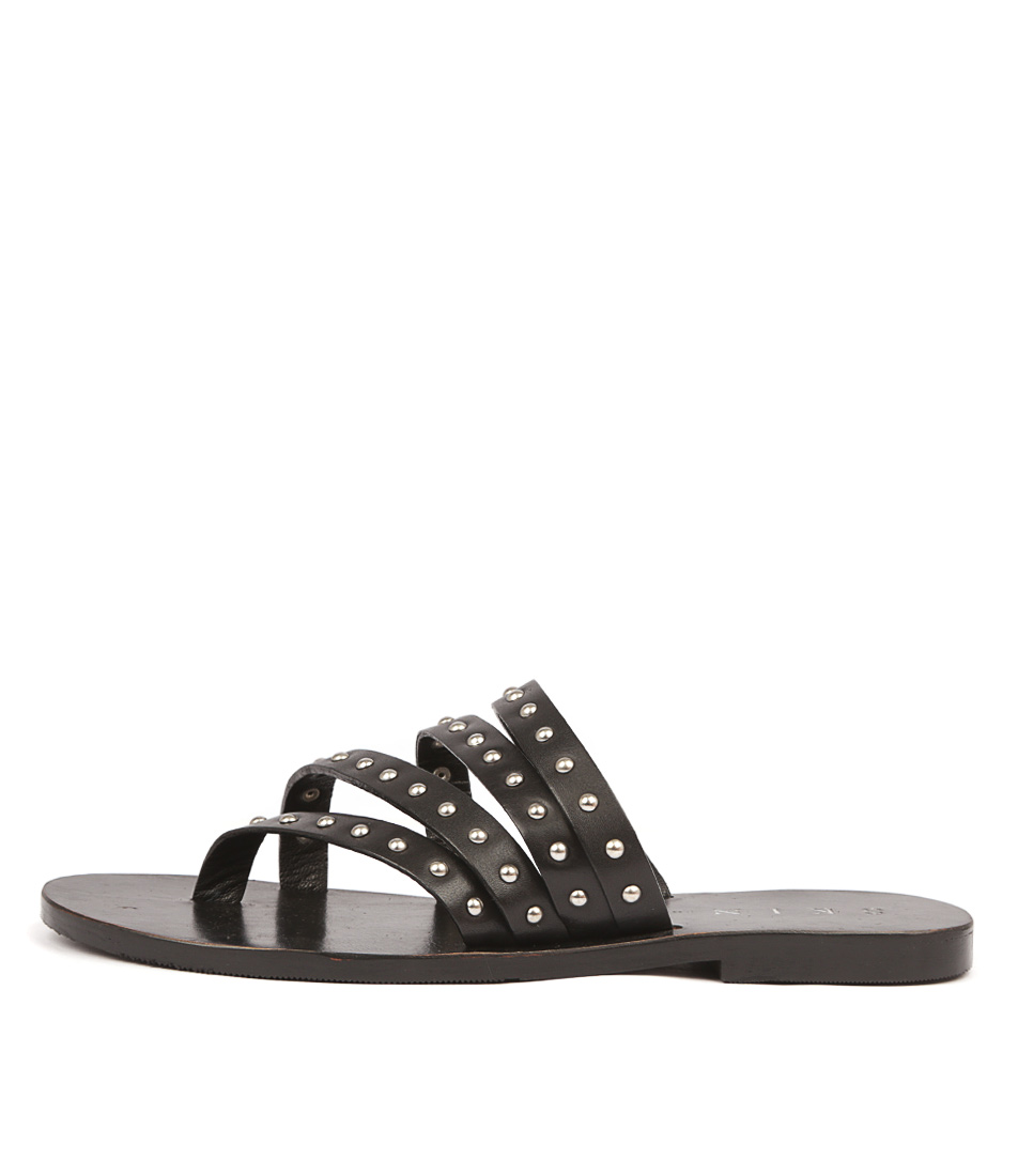 Buy Skin Alessio Black Flat Sandals online with free shipping