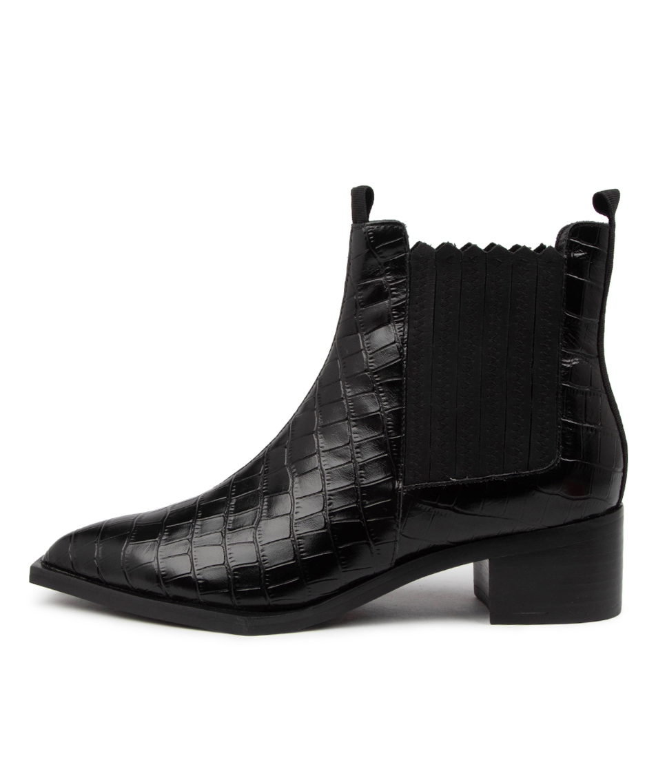 Buy Skin Zurich Sn Black Croc Ankle Boots online with free shipping