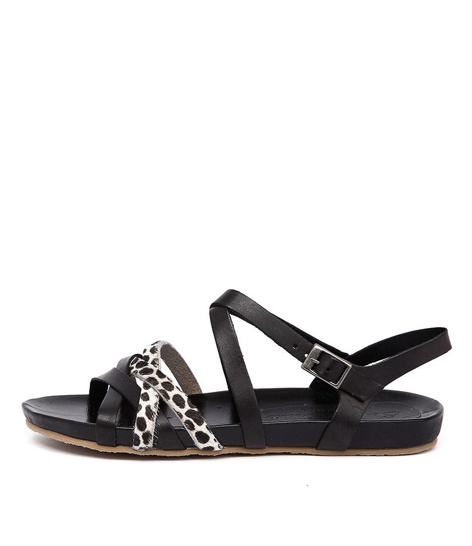 Sofia Cruz Silvia 15 513 Negro Leopardo Flat Sandals
