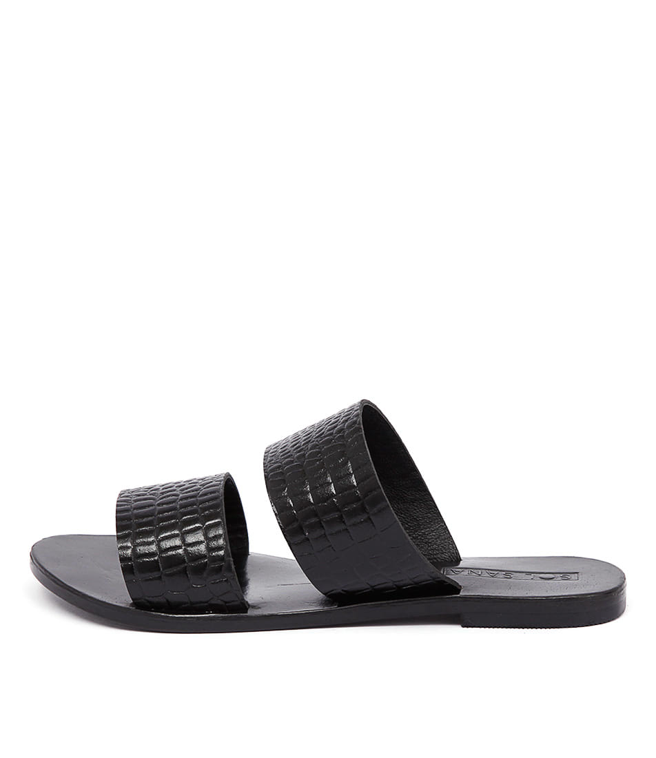 Sol Sana Lucy Slide Black Casual Flat Sandals