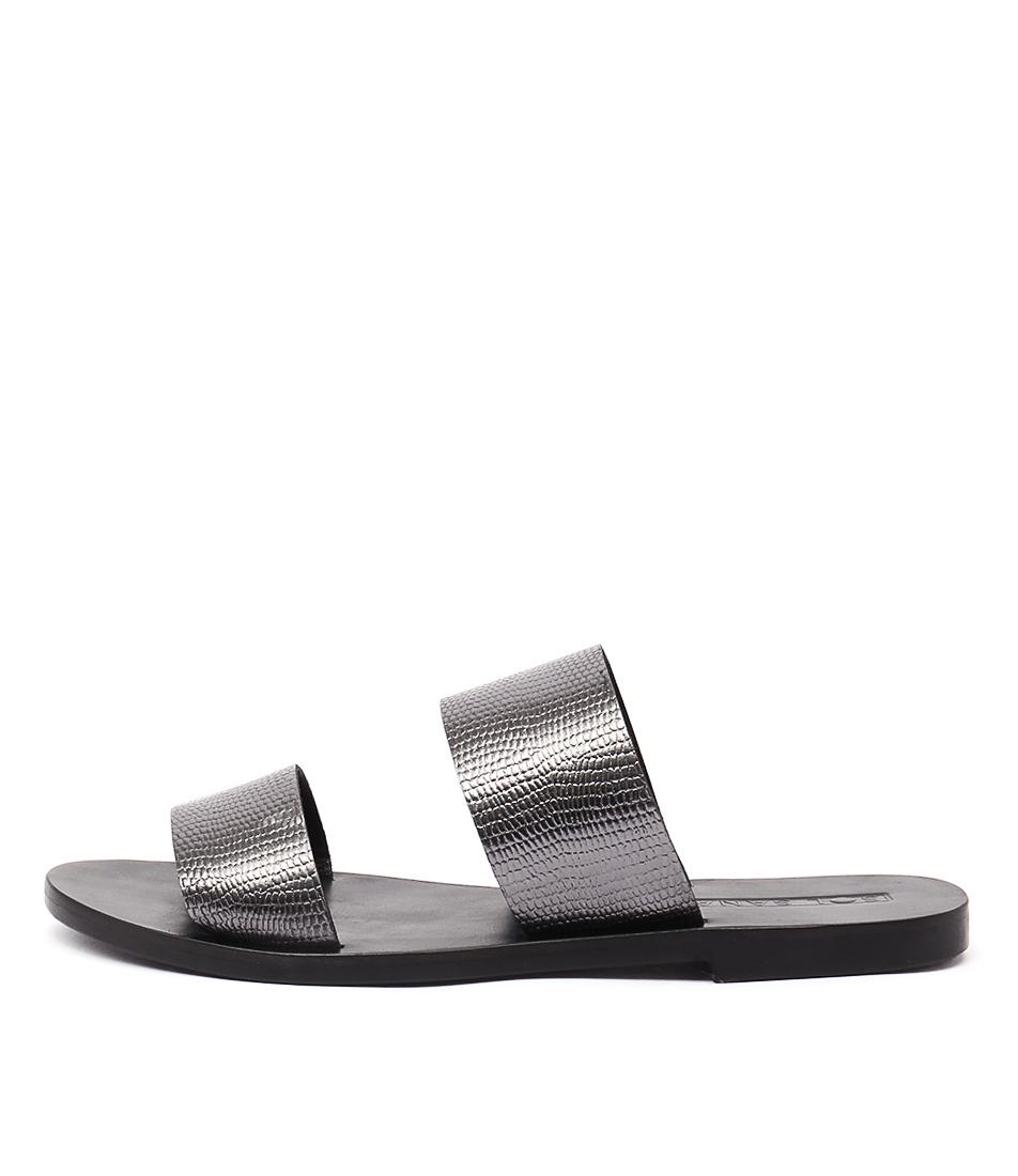 Sol Sana Jasmine Slide Gunmetal Casual Flat Sandals