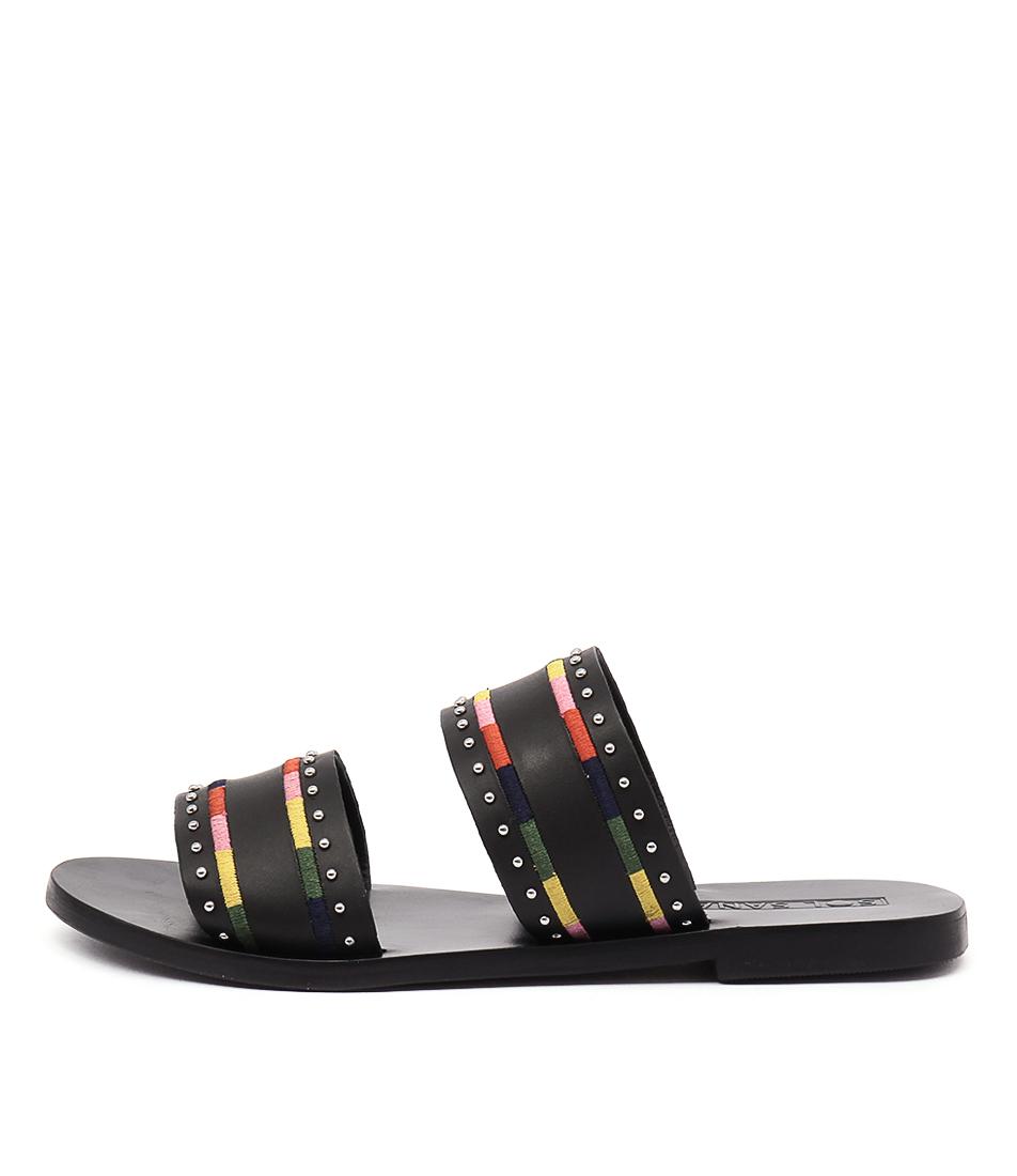 Sol Sana Pablo Slide Black Flat Sandals