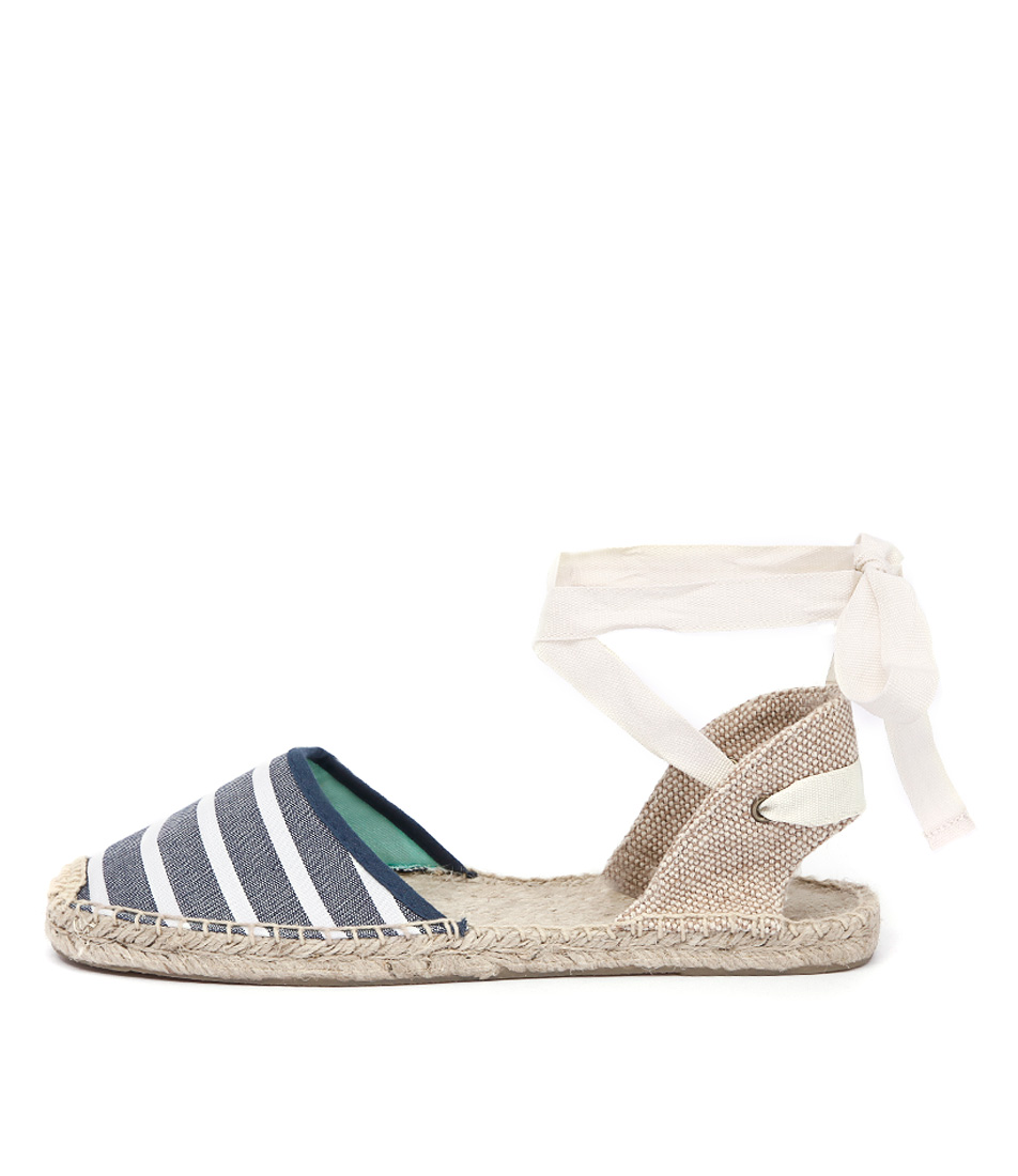 Soludos Classic Sandal Stripe Navy White Casual Flat Shoes