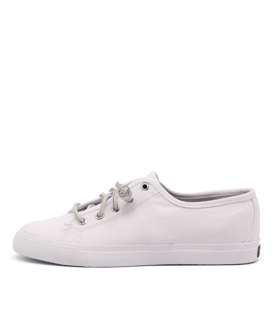 Sperry Seacoast Core Canvas Mono All White Flats