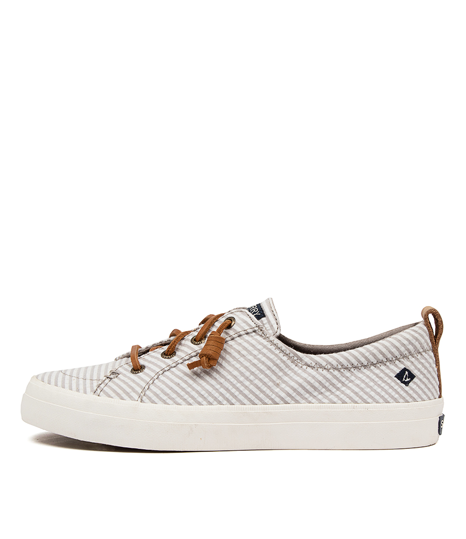 Buy Sperry Crest Vibe Seersucker Strip Sp Grey White Sneakers online with free shipping