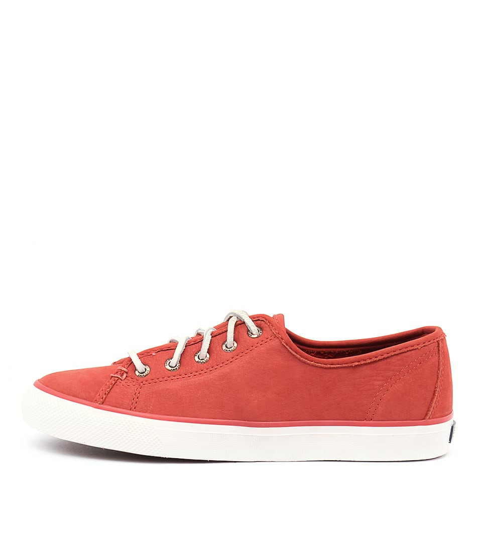 Sperry Seacoast Washable Leather Dark Coral Sneakers