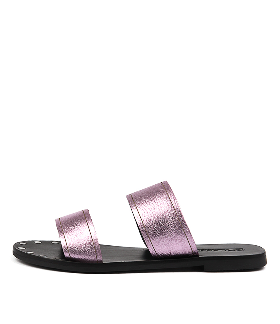 Sol Sana Tali Slide Pink Metallic Casual Flat Sandals