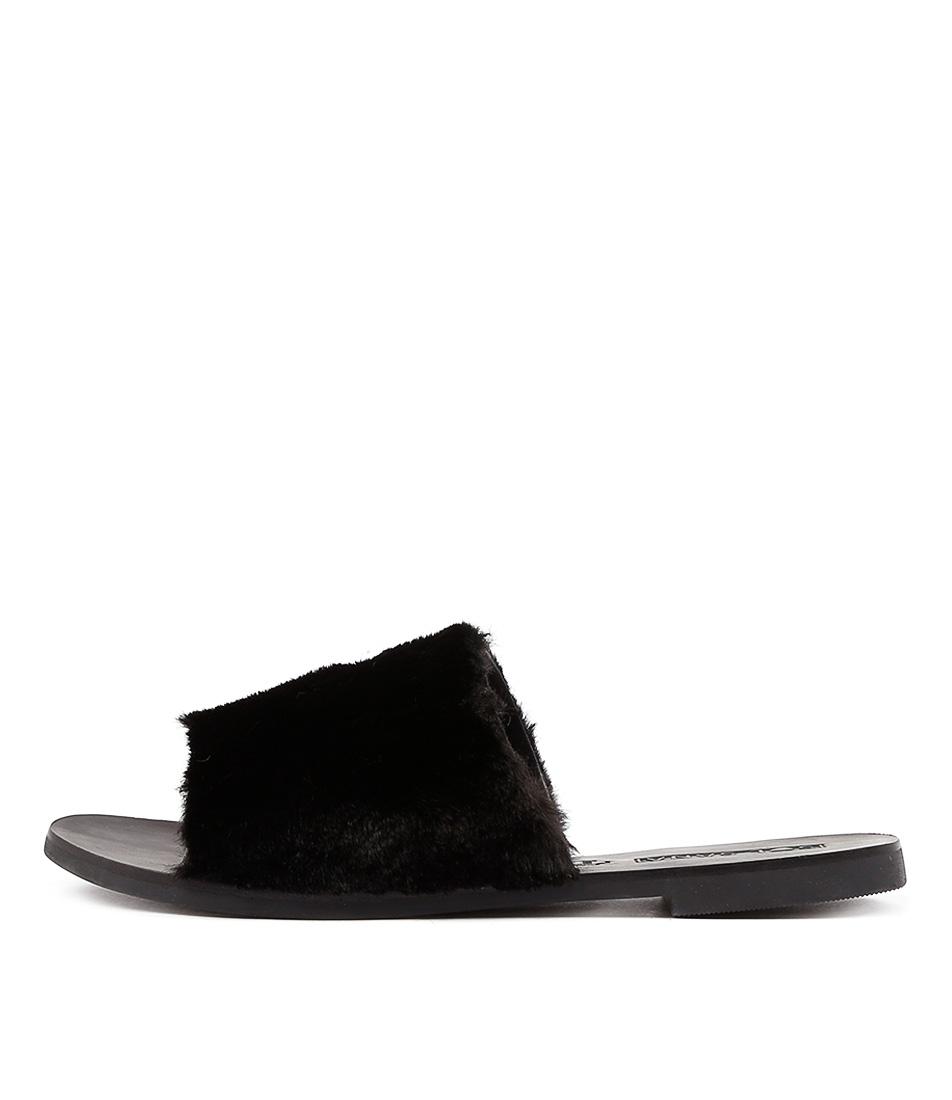 Sol Sana Teresa Fluffy Slide Black Sandals