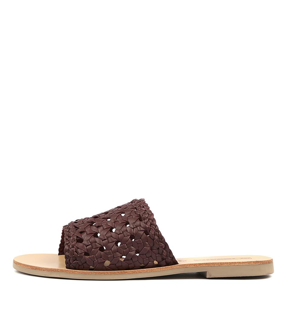 Buy Sol Sana Woven Teresa Slide Dark Cherry Flat Sandals online with free shipping