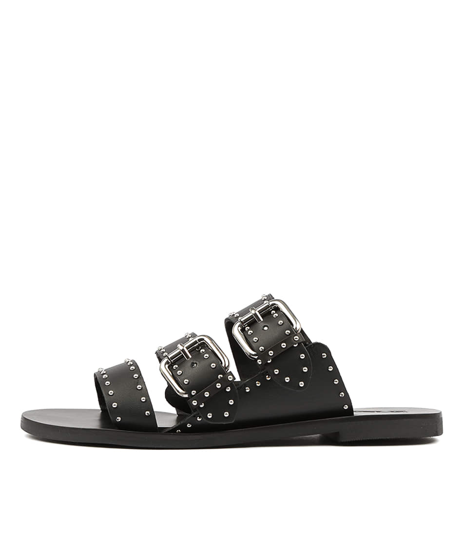 Buy Sol Sana Foster Slide Black Flat Sandals online with free shipping
