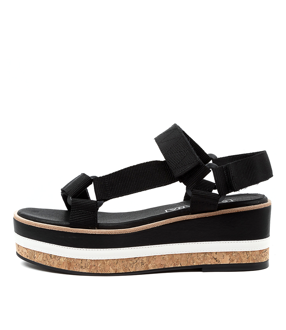 Buy Sol Sana Amalia Wedge Ss Black Heeled Sandals online with free shipping