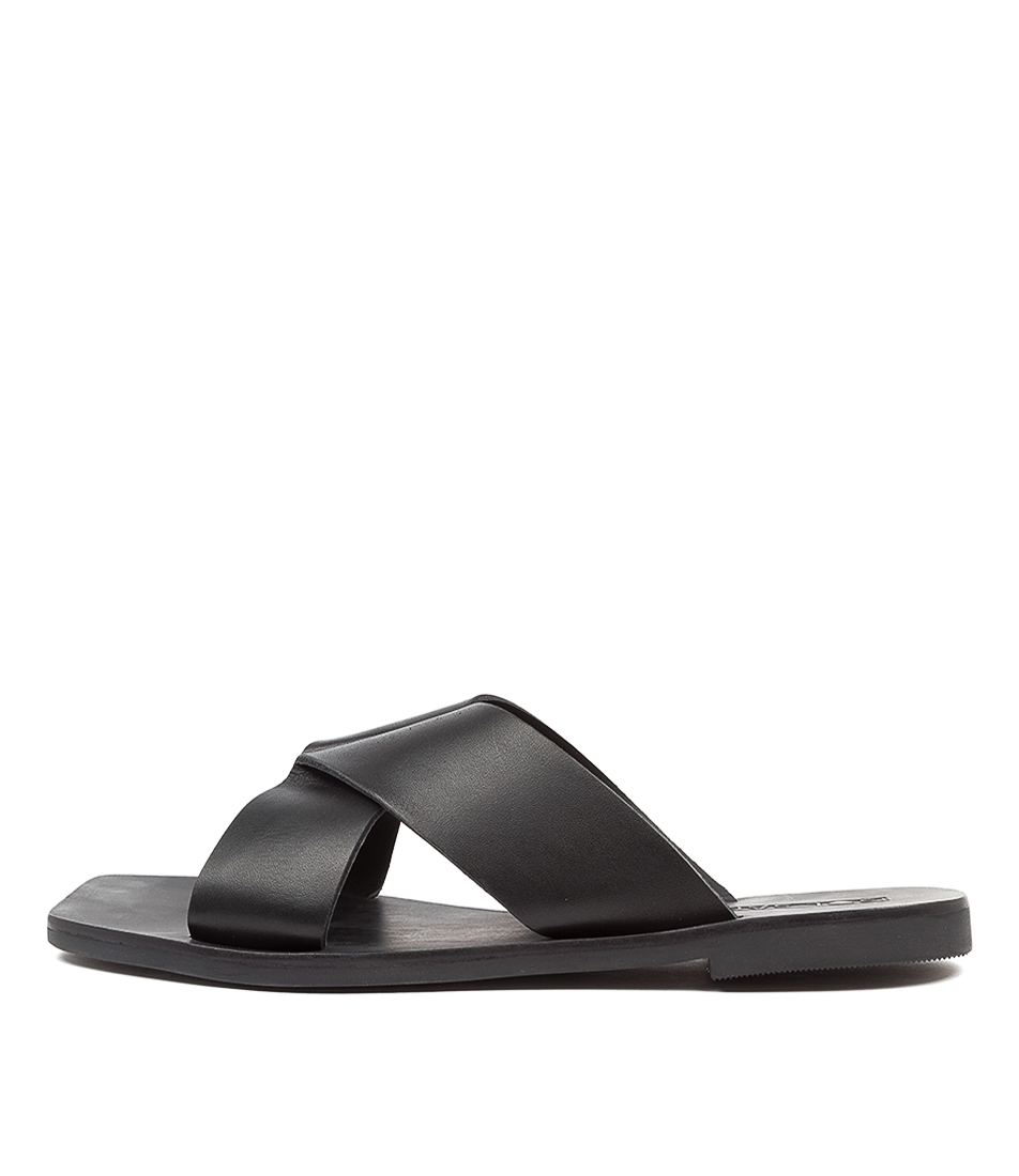 Buy Sol Sana Julian Slide Ss Black Flat Sandals online with free shipping