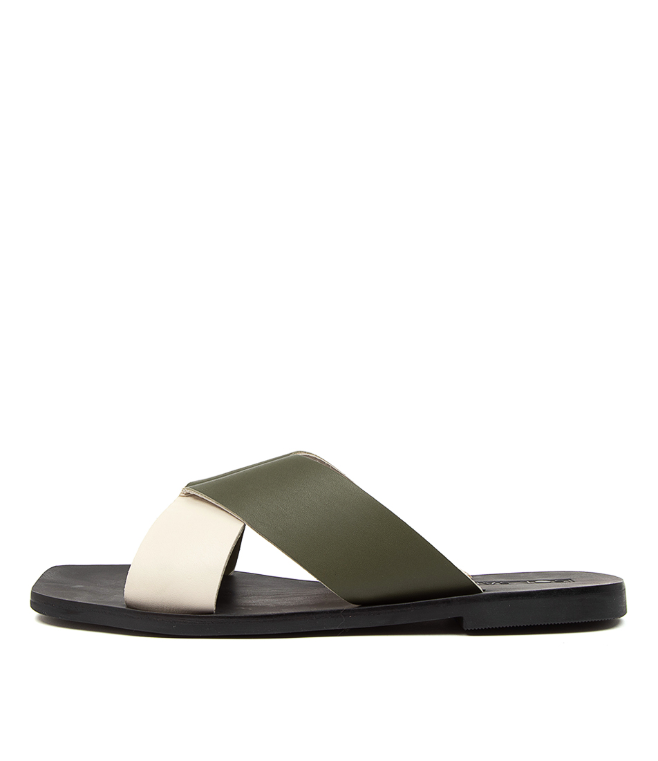 Buy Sol Sana Julian Slide Ss Khaki Flat Sandals online with free shipping