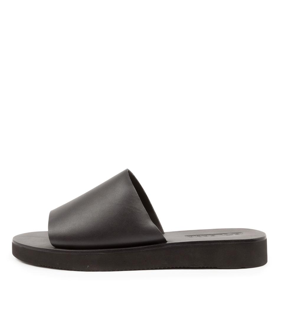 Buy Sol Sana Tara Slide Ss Black Flat Sandals online with free shipping
