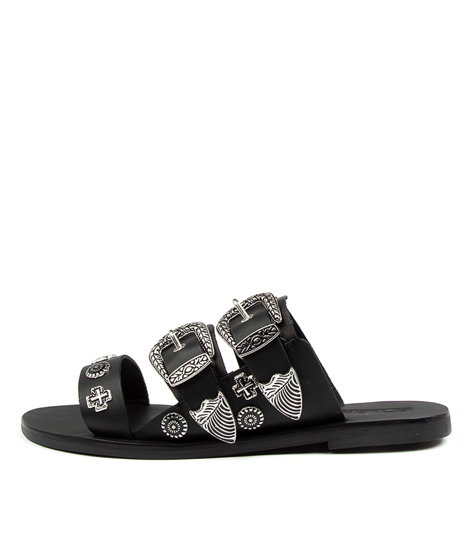 Buy Sol Sana Eastwood Round Slide Ss Black Flat Sandals online with free shipping
