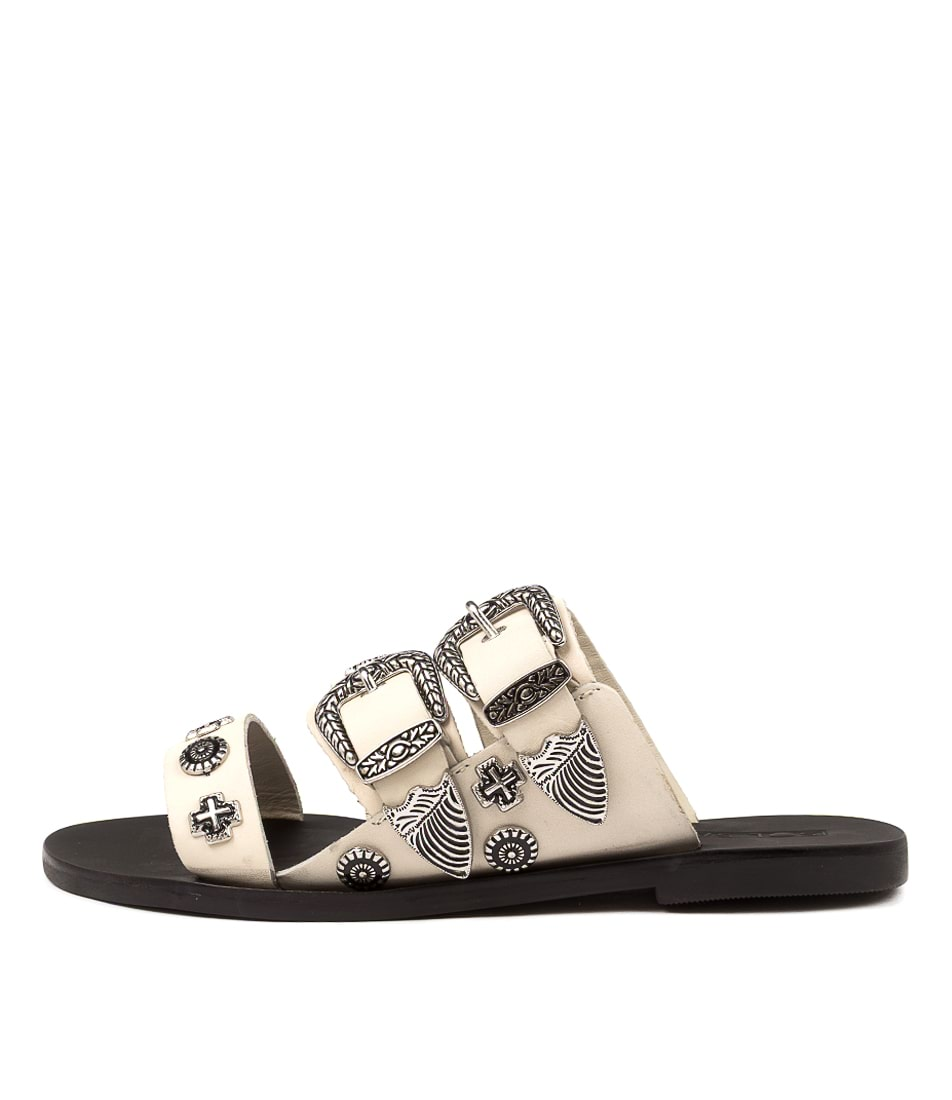 Buy Sol Sana Eastwood Round Slide Ss White Flat Sandals online with free shipping