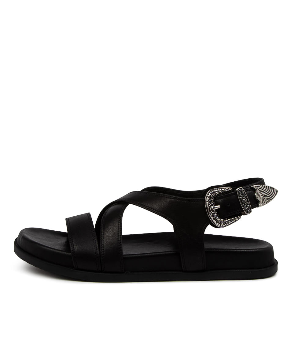 Buy Sol Sana Cairo Wedge Ss Black Flat Sandals online with free shipping
