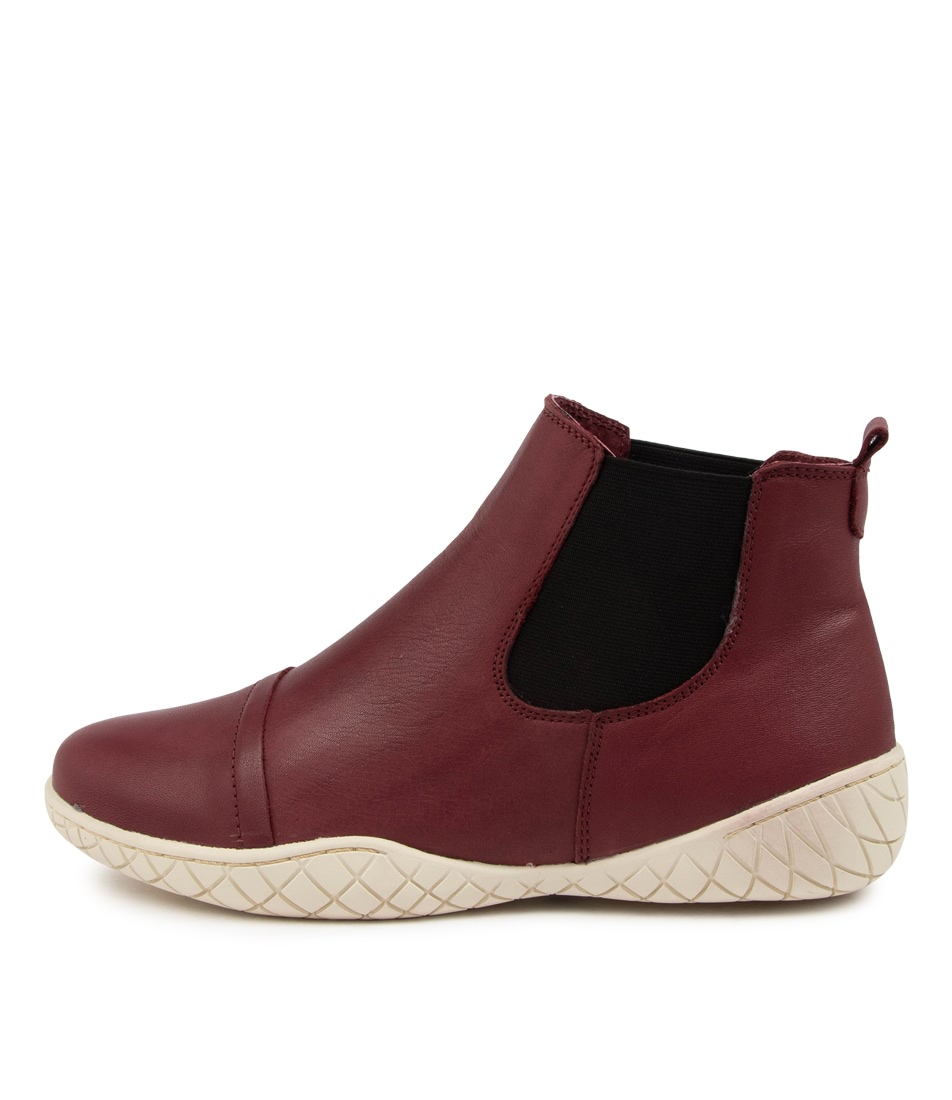 Buy Stegmann Kaia St Burgundy Off White Ankle Boots online with free shipping