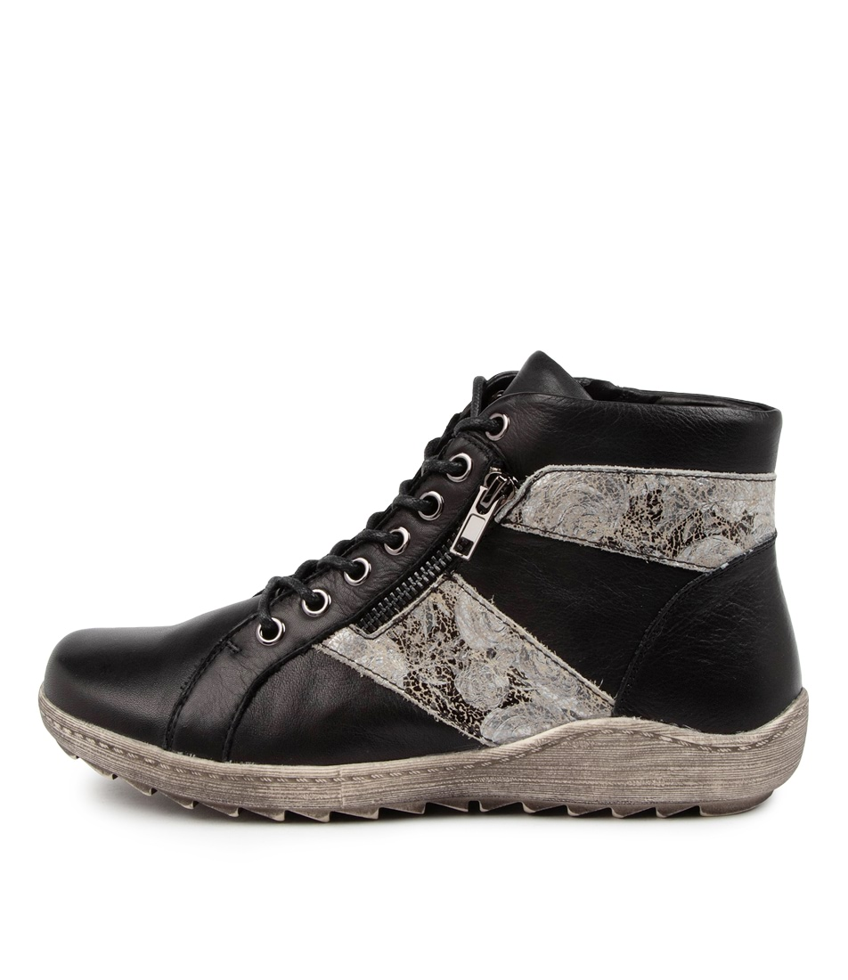Buy Stegmann Healey St Black Grey Flower Ankle Boots online with free shipping