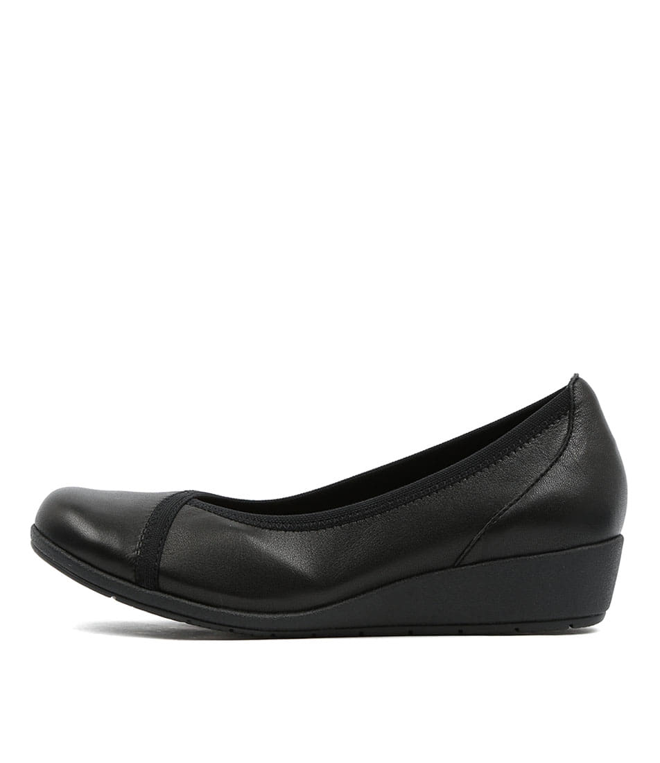 Supersoft Flexwedge Black Comfort Heeled Shoes