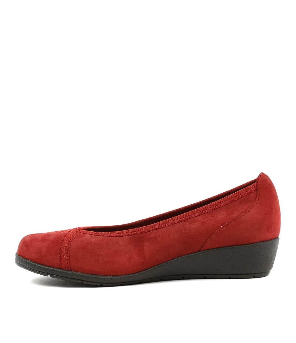 Supersoft Flexwedge Dark Red Comfort Heeled Shoes