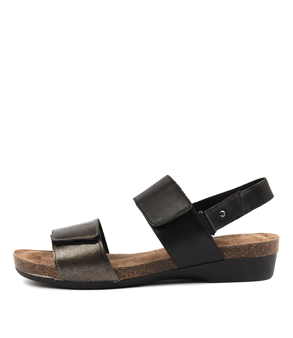 Supersoft Quandel Black Pewter Casual Heeled Sandals