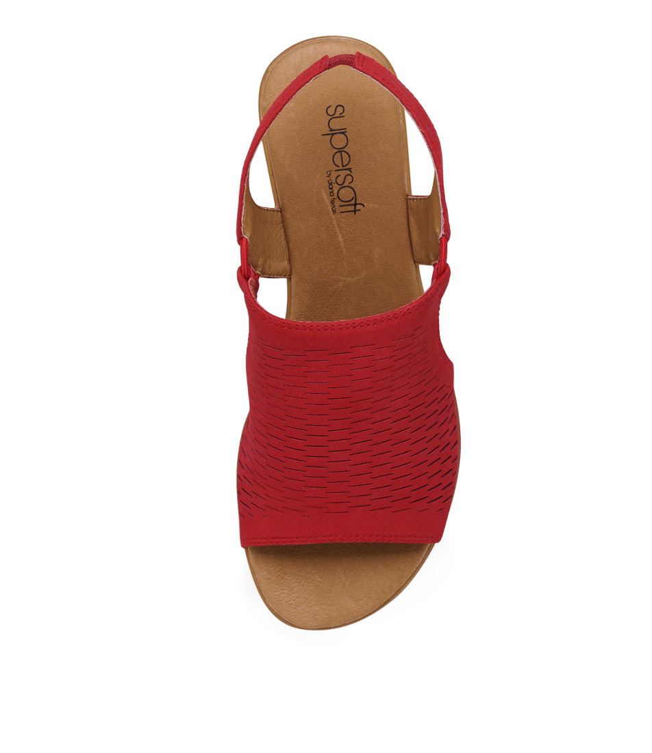 New Supersoft Debs Red Nappa Leather Leather Leather Womens shoes Comfort Sandals Sandals Flat 434601