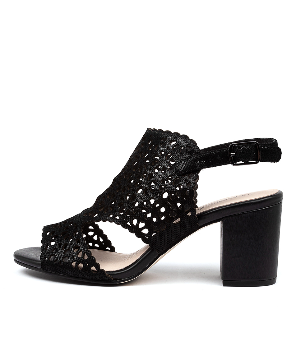 Buy Supersoft Nylah Black Metallic Heeled Sandals online with free shipping