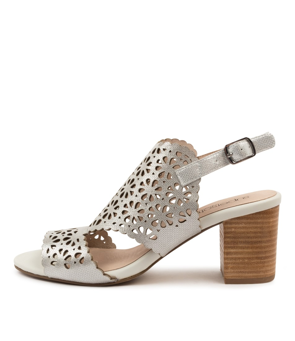 Buy Supersoft Nylah White Silver Metallic Heeled Sandals online with free shipping
