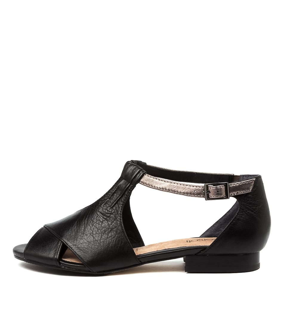 Buy Supersoft Eventine Su Black Gunmetal E Flat Sandals online with free shipping