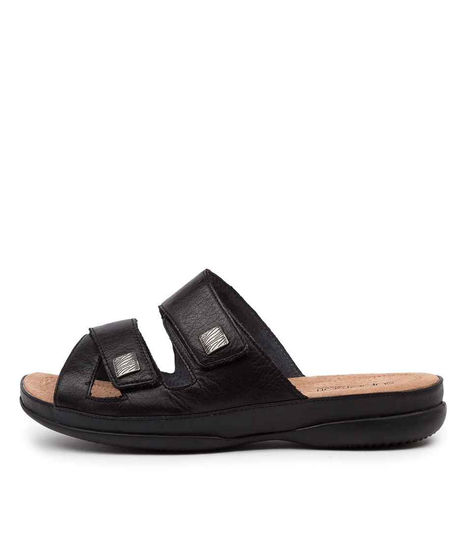 Buy Supersoft Shargold Su Black E Flat Sandals online with free shipping