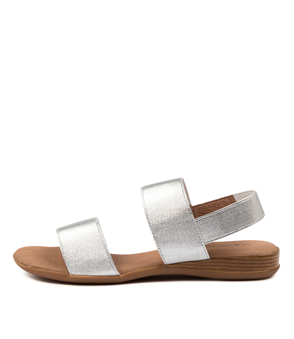 Buy Supersoft Jensen Su Silver Flat Sandals online with free shipping